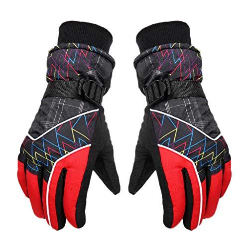 Winter Waterproof Anti-slip Outdoor Sports Warm Thermal Velvet Ski Snow Gloves Hot Selling By Ikevan (Red)