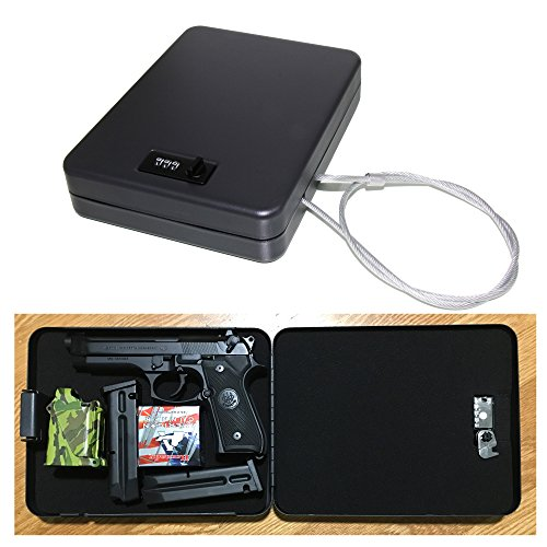 AmeriGun.Club X-Large Size Handgun Safe Vault Security Pistol Safety Case Box (Combination Lock X-Large)