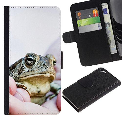 LASTONE PHONE CASE / Luxe Cuir Portefeuille Housse Fente pour Carte Coque Flip Étui de Protection pour Apple Iphone 5 / 5S / Cool Happy Big Frog