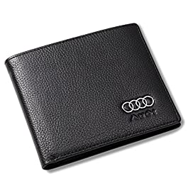 Audi Bifold Wallet with 3 Credit Card Slots and ID Window – Genuine Leather