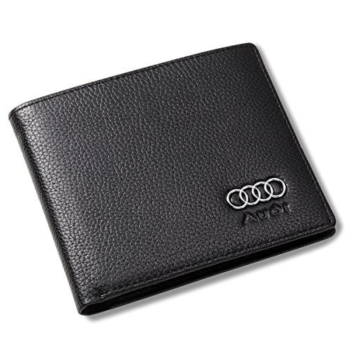Audi Bifold Wallet with 3 Credit Card Slots and ID Window - Genuine Leather