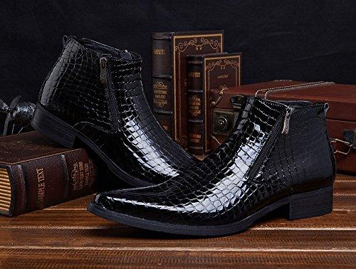 Wuf Herren Stiefel Boots Lederstiefel Schuhe Klassisch Schwarz B