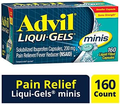 Advil Liqui-Gels Minis Pain Reliever and Fever Reducer, Ibuprofen 200mg, 160 Count, Fast Pain Relief
