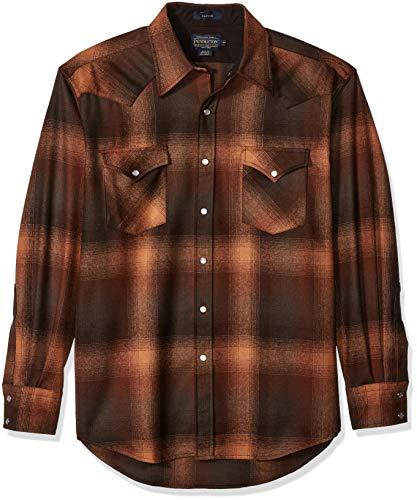 Pendleton Men's Long Sleeve Button Front Classic-fit Canyon Shirt, Brown/Orange Ombre, ()