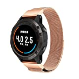 Watchband,Saying For Garmin Fenix 5 Plus Watch New Milanese Magnetic Loop Stainless Steel Band Contracted Design Style (Rose Gold)