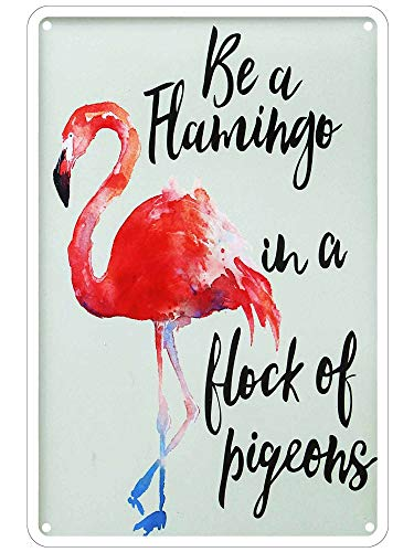 - LASMINE Metal Vintage Be a Flamingo in a Flock of Pigeons Parking Only Violators Wall Turn Outdoor Garden Signs Retro Kitchen Decor Sign Indoor House Door 8X12Inch