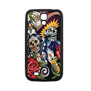 Generic Sugar Skull Day of the Dead Protective Hard plastic shell Cell Phone Cover Case for SamSung Galaxy S4,SIV i9500 Cases wangjiang maoyi
