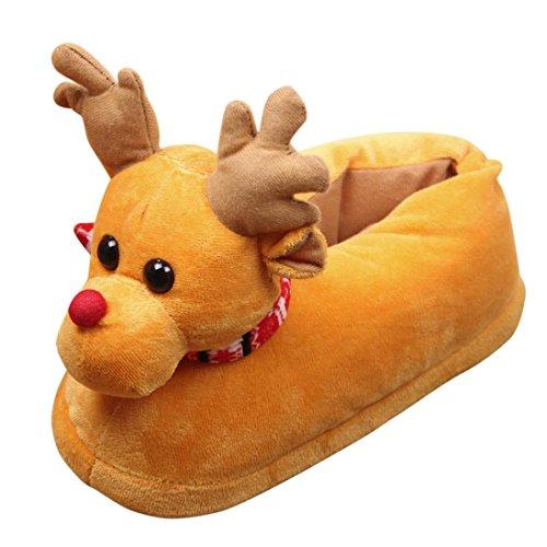 Ouneed Unisex Plüsch Baumwolle Hausschuhe Winter warme Innen Weihnachten Hausschuhe Schuhe Gelb