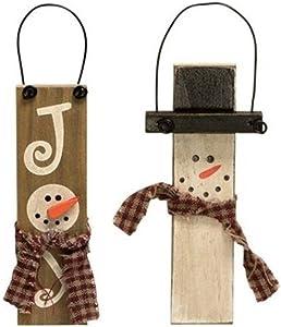 Primitive Wood Snowman Christmas Ornament Bundle, Antiqued Country Prim Decor, Holiday Farmhouse Collection