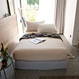 VClife Cotton Twin Fitted Sheet Deep Pocket, 1 Piece Solid Bedding Sheet 60'' x 80'',Wrinkle & Fade Resistant, Breathable (Style 1, Twin)