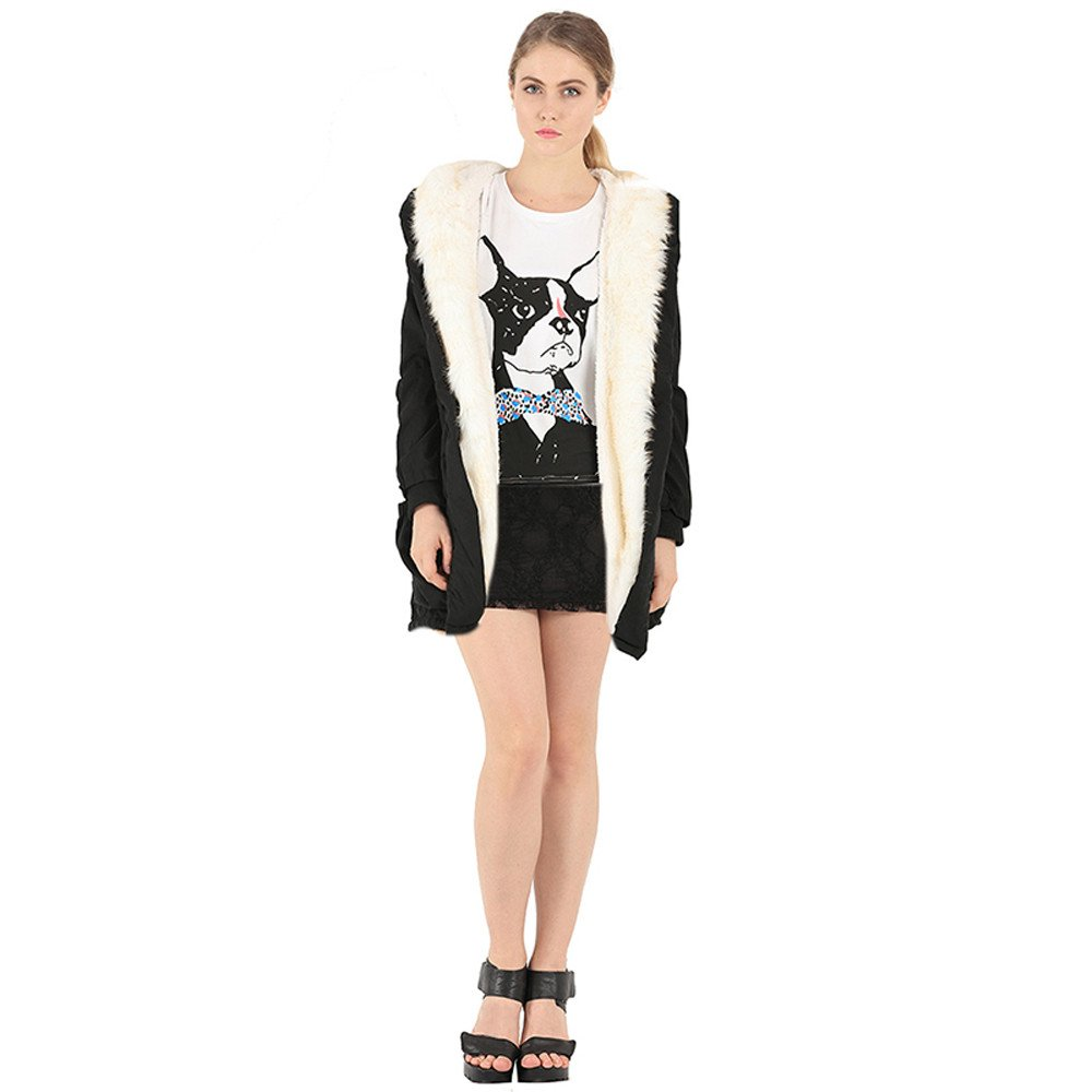 POTO Women Coats OUTERWEAR レディース B07HRHLYCZ ブラック X-Large