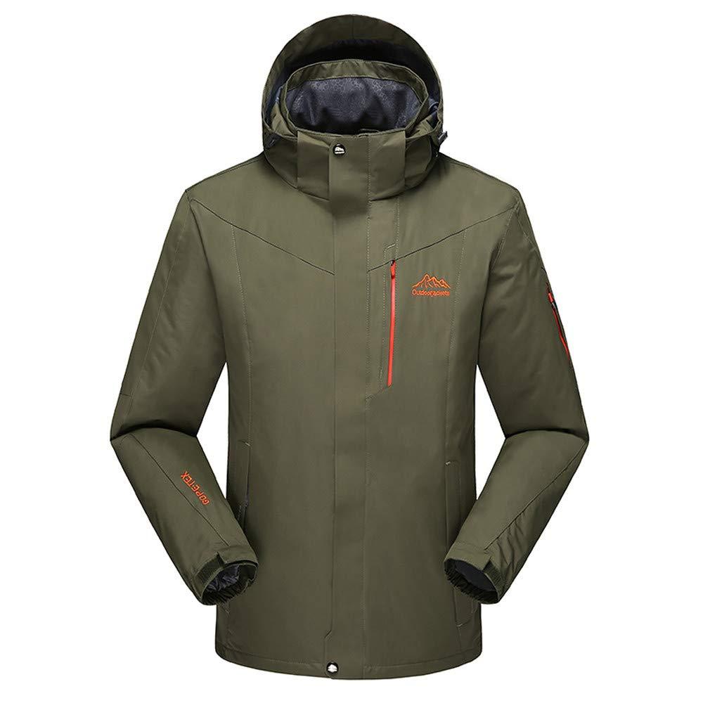 YKARITIANNA Men's Winter Outdoor Skiing Anorak, Autumn Winter Outdoor Cashmere Zipper Hoodie Sport Outdoor Assault Coat Army Green