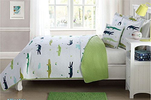 Elegant Home Alligators Crocodiles Fun Design Light Blue Dark Blue Green White Reversible Printed Colorful 4 Piece Quilt Bedspread Bedding Set with Decorative Pillow for Kids / Boys (Full Size)