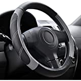 Elantrip Leather Large Steering Wheel Cover 15 1/2 to 16 inch Universal Soft Grip Breathable for Car Truck SUV Jeep Anti Slip Black and Gray