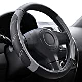 Elantrip Leather Large Steering Wheel Cover 15 1/2 to 16 inch Universal Soft Grip Breathable for Car Truck SUV Jeep Anti Slip Black and Gray: more info