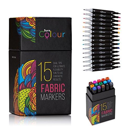 Fabric Pens Set of 15 Vibrant Colours, Dual Tip Design. Our Permanent...