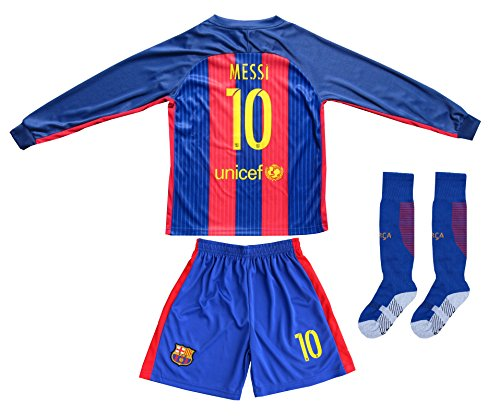 2016/2017 #10 LIONEL MESSI HOME LONG SLEEVE SOCCER JERSEY & SHORTS YOUTH SIZES