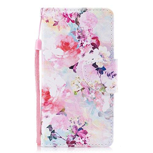 Samsung Galaxy S7 Edge Hülle, Chreey PU Leder Schutzhülle mit Blau Schmetterling Muster Bumper Flip Wallet Case Handyhülle Blumen