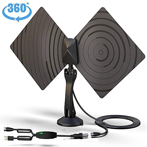 TV Antenna, Vproof Indoor HDTV Antenna TV Aerial 50 Miles Range 4K 1080P VHF UHF Reception Amplifier Signal Booster with Detachable Mount +10FT Coax Cable (Black) - Tv Aerial Reception
