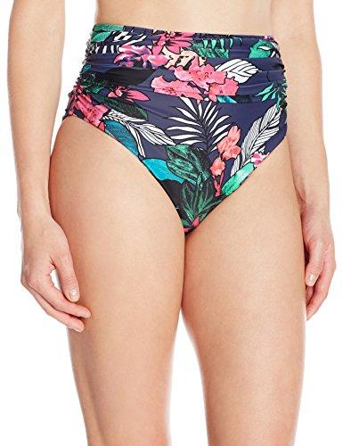Coastal Blue Women's Swimwear Shirred High Waist Bikini Bottom, Tropical Print, XS (0-2)