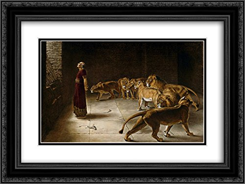 Briton Riviere 2X Matted 24x20 Black Ornate Framed Art Print 'Daniel's Answer to The King'
