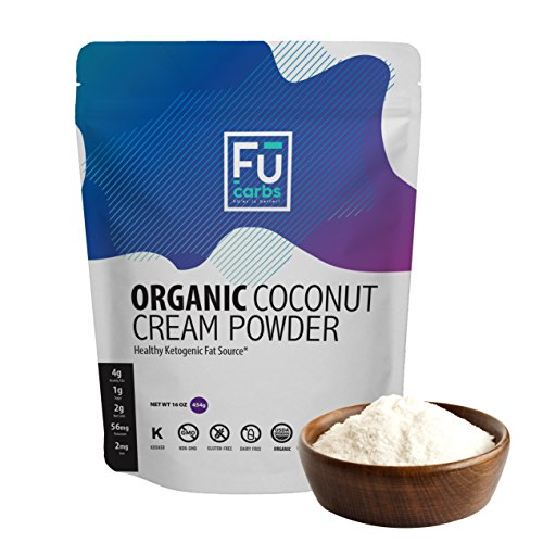 Organic Coconut Milk Cream Powder - Fū Carbs Powdered Coconut Cream Adds Healthy Fats to your Ketogenic and Paleo Diets. A Great Dairy Free, Vegan Friendly Addition to Coffee, Shakes, Smoothies etc. by Fū Carbs