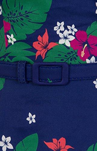 Collectif Dunkelblau Muster mit Kleid Beth Dress Tiki Damen Hibiscus Retro Swing g4gfa6q