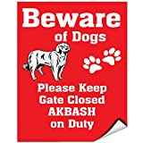 Beware Of Akbash Dog On Duty Vinyl LABEL DECAL STICKER 9 inches x 12 inches