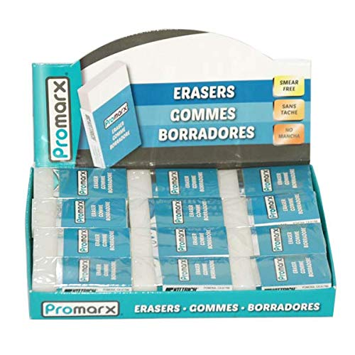 Promarx Erasers 6.5 mm in 24 Count PDQ, Case of 576
