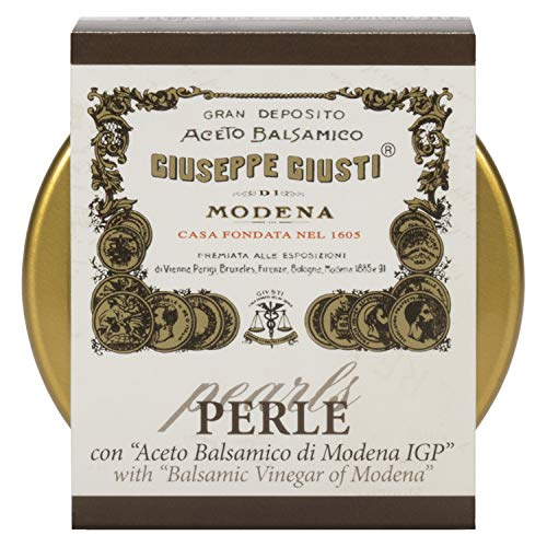 Giuseppe Giusti Perle con Aceto Balsamico di Modena IGP - Black Pearls of Giusti Balsamic Vinegar of Modena 1 Medal - The Perfect Condiment for Meats, Salads, Seafood & Dessert (2 pack)