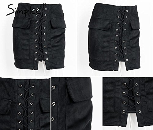 [Walid-Autumn lace up suede leather women skirt 90's Vintage pocket preppy short skirt Winter high waist casual skirts ( Size L] (1970s Tennis Costume)