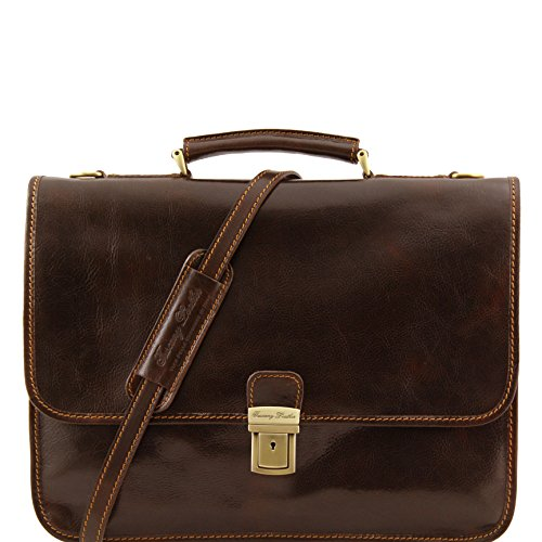 Tuscany Leather Torino Leather briefcase 2 compartments Dark Brown by Tuscany Leather