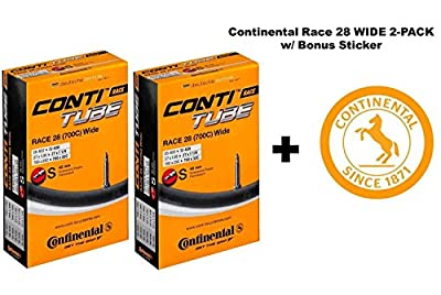 "Continental Race 28"" 700x25-32c Bicycle Inner Tubes - 42mm Long Presta Valve - TWO PACK w/ BONUS Conti Sticker"