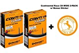 Continental Race 28'' 700x25-32c Bicycle Inner Tubes - 42mm Long Presta Valve - TWO PACK w/BONUS Conti Sticker