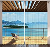 Ocean Decor Curtains for Bedroom Drapes for Living Room Interior Coastal Decor Island Seaside Theme Art Prints Effect Pictures Two Window Panels Set 108 X 84 Inches Scenery, Navy Blue Green and Brown