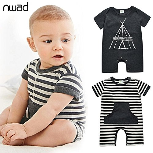 Summer Infant Boy Cotton Rompers Casual Striped Newborn - Jordan Shoe Rake