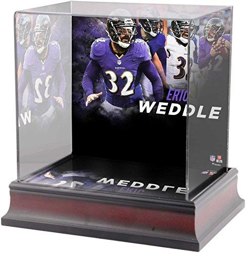Sports Memorabilia Eric Weddle Baltimore Ravens Deluxe Mini Helmet Case - Football Mini Helmet Free Standing Display Cases