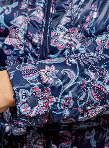 Acolchada Ultra Mujer Estampada Chaqueta con Cuello oodji Mao 794de Azul RaUHqWwH