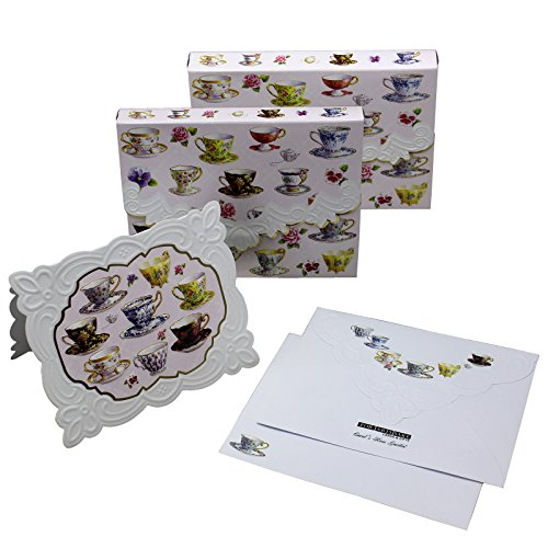 Mini Embossed Portfolio (Tea Cups Embossed Set of 10 Blank Note Cards, Envelopes, and Mini Portfolio Pouch, Designed by Carol Wilson (Two (2) Sets))