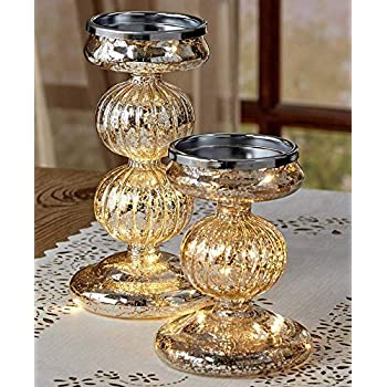 Set of 2 Lighted Mercury Glass Candle Holders Silver
