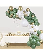 Sage Green Balloon Garland Arch Kit - 140pcs Olive Green Latex Balloon Set with white Gold and Confetti balloon, Avocado Green for Wedding Birthday Baby & Bridal Shower Party Decoration