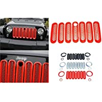 Nicebee 7pcs Red Front Honeycomb Punch Round Grille Grill Mesh Insert Cover Trim For 2007-2016 Jeep Wrangler JK