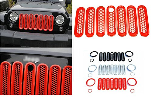 - Nicebee 7pcs/Set Red Front Honeycomb Punch Round Grille Grill Mesh Insert Trim Cover for 2007-2017 Jeep Wrangler JK