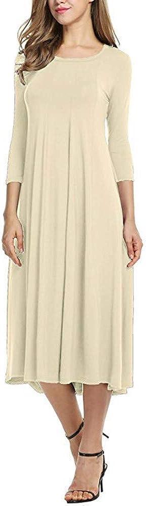 Damen Kleider Lang Dasongff Frauen Elegant O Neck ...