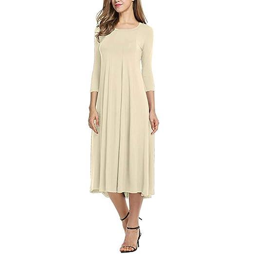 826d046f2245 Amazon.com  AMSKY❤Womens Casual Loose Half Sleeve Plain Maxi Long ...