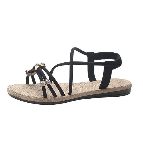 Styledress Damen Sandalen Frauen Sommer Runde Sandalen aus Kristall Damen Zehentrenner Kreuz gebundene Schuhe...