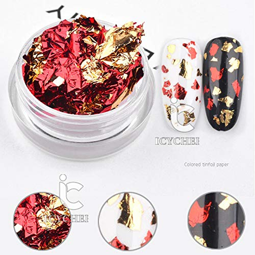 Gold Colorful Silver Aluminum Nail Art Foil Sticker Paper Gel Adhesive Glue Transfer Nails Paillette Flake Decal (gold red)
