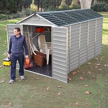6 x 12 plástico cobertizo y # x2666; Tragaluz de almacenamiento cobertizos y # x2666; Palram edificio gris y # x2666;: Amazon.es: Jardín