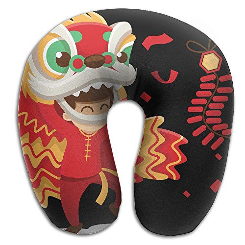 U-Shaped Neck Pillow Chinese Lion Dance Pillows Soft Convertible Portable Multifunctional For Travel Reading And Sleeping (Lion Neck Pillow)
