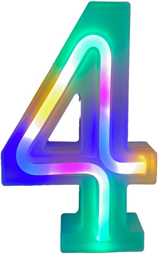 QiaoFei Light Up Marquee Letters Lights Letters Neon Signs,Wall Decor/Table Decor for Home Bar Christmas, Birthday Party, Valentinefs Day Words-Colorful Numbers (4)